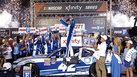 <p>               Kyle Larson celebrates after winning the NASCAR Xfinity Series auto race Friday, Aug. 17, 2018, in Bristol, Tenn. (AP Photo/Wade Payne)             </p>