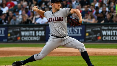 <p>               FILE - In this Aug. 11, 2018, file photo, Cleveland Indians starting pitcher Trevor Bauer delivers against the Chicago White Sox during the first inning of a baseball game in Chicago. Bauer, one of the leading candidates for the AL Cy Young Award, will be out four to six weeks because of a stress fracture in his right leg. (AP Photo/Matt Marton, File)             </p>