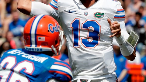 <p>               FILE - In this April 14, 2018, file photo, Florida quarterback Feleipe Franks (13) throws a pass over defensive lineman Cece Jefferson, left, during an NCAA college spring football intrasquad game, in Gainesville, Fla. Florida coach Dan Mullen is expected to name a starting quarterback for Saturday's season opener against Charleston Southern. The decision is between Feleipe Franks and Kyle Trask.(AP Photo/John Raoux, FIle)             </p>