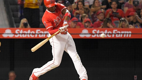 <p>               Los Angeles Angels' Justin Upton hits a two-run home run during the sixth inning of against the Oakland Athletics in a baseball game Friday, Aug. 10, 2018, in Anaheim, Calif. (AP Photo/Mark J. Terrill)             </p>
