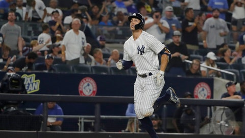 <p>               New York Yankees' Giancarlo Stanton runs the bases after hitting a home run during the seventh inning of a baseball game against the Toronto Blue Jays, Friday, Aug. 17, 2018, in New York. (AP Photo/Frank Franklin II)             </p>