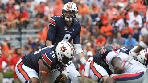<p>               FILE - In this Oct. 7, 2017, file photo, Auburn quarterback Jarrett Stidham (8) looks to the sideline during the second half of an NCAA college football game against Mississippi, in Auburn, Ala. Last season scoring was down in college football, a drop of about a point and a half per game per team to 28.8, and the lowest mark since 2011 (28.3). But a deeper look into the numbers shows that defensive coordinators don't have much to celebrate. Offenses are still performing at a high level. They were, generally, just operating more slowly in 2017. And there is reason to believe this is the new normal as the allure of playing fast. (AP Photo/Thomas Graning, File)             </p>