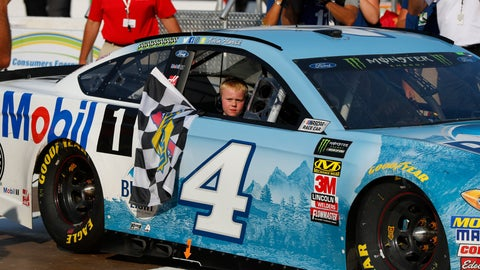 <p>               Kevin Harvick's son, Keelan, rides into Winner's Circle with his father after a NASCAR Cup Series auto race at Michigan International Speedway in Brooklyn, Mich., Sunday, Aug. 12, 2018. (AP Photo/Paul Sancya)             </p>
