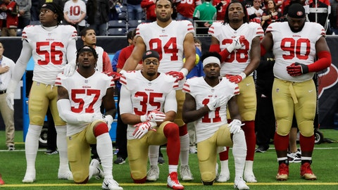 "<p>               FILE - In this Dec. 10, 2017, file photo, San Francisco 49ers' Eli Harold (57), Eric Reid (35) and Marquise Goodwin (11) kneel during the national anthem before an NFL football game against the Houston Texans, in Houston. Harold spent the past two seasons kneeling aside teammates like Colin Kaepernick and Eric Reid as a form of protest of racial injustice during the national anthem. Harold has changed his stance this year and has stood during the playing of the ""The Star-Spangled Banner"" during the first two exhibition games for the 49ers. He said Tuesday, Aug. 21, 2018 he didn't want to get into details on why he no longer is kneeling during the anthem. (AP Photo/David J. Phillip, File)             </p>"