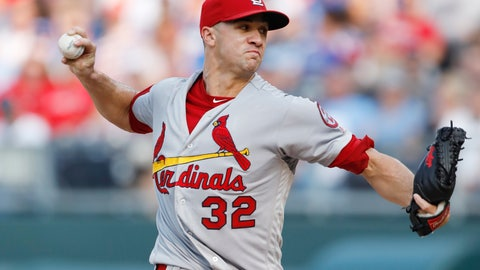 <p>               St. Louis Cardinals pitcher Jack Flaherty throws to a Kansas City Royals batter in the first inning of a baseball game at Kauffman Stadium in Kansas City, Mo., Saturday, Aug. 11, 2018. (AP Photo/Colin E. Braley)             </p>
