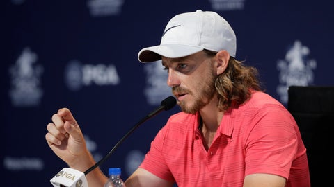 <p>               Tommy Fleetwood, of England, responds to a question during a news conference at the PGA Championship golf tournament at Bellerive Country Club, Wednesday, Aug. 8, 2018, in St. Louis. (AP Photo/Darron Cummings)             </p>
