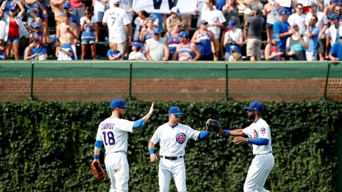 <p>               Chicago Cubs left fielder Ben Zobrist, left, center fielder Albert Almora Jr., center, and right fielder Jason Heyward celebrate in the outfield after beating the San Diego Padres in a baseball game in Chicago, on Saturday, Aug. 4, 2018. The Cubs won the game 5-4. (AP Photo/Jeff Haynes)             </p>