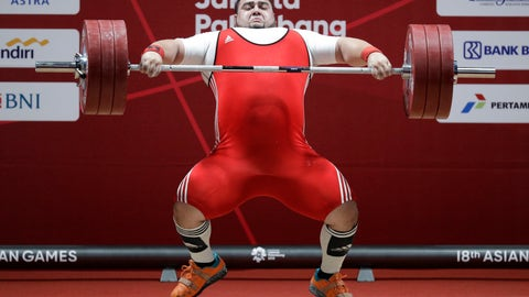 <p>               Pakistan's Muhammad Nooh Butt compete at the men's +105kg weightlifting at the 18th Asian Games in Jakarta, Indonesia, Monday, Aug. 27, 2018. (AP Photo/Aaron Favila)             </p>