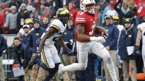 <p>               FILE - In this Nov. 18, 2017, file photo, Wisconsin's Kendric Pryor gets past Michigan's David Long for a touchdown run during the second half of an NCAA college football game, in Madison, Wis. Wisconsin's Big Four of experienced receivers is down to the duo of A.J. Taylor and Kendric Pryor following the suspensions of Quintez Cephus and Danny Davis.(AP Photo/Morry Gash, File)             </p>