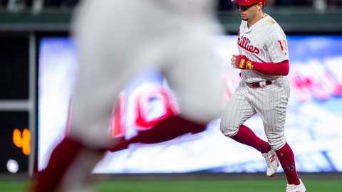 <p>               Philadelphia Phillies' Asdrubal Cabrera (13) runs the bases as Carlos Santana, left, crosses third base, after Cabrera hit a home run during the third inning of a baseball game against the Miami Marlins, Saturday, Aug. 4, 2018, in Philadelphia. (AP Photo/Laurence Kesterson)             </p>