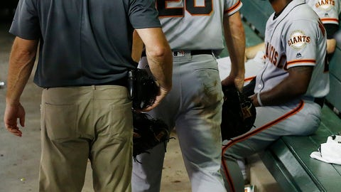 <p>               After sustaining an injury, San Francisco Giants' Buster Posey (28) leaves the game with a member of the training staff as they walk past Andrew McCutchen, second from right, and Chris Stratton, right, during the third inning of a baseball game against the Arizona Diamondbacks on Friday, Aug. 3, 2018, in Phoenix. (AP Photo/Ross D. Franklin)             </p>