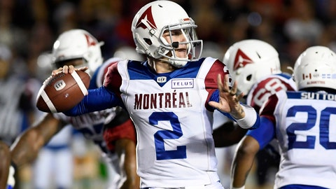 <p>               Montreal Alouettes quarterback Johnny Manziel (2) passes during first-half CFL football game action against the Ottawa Redblacks in Ottawa, Ontario, Saturday, Aug. 11, 2018. (Justin Tang/The Canadian Press via AP)             </p>