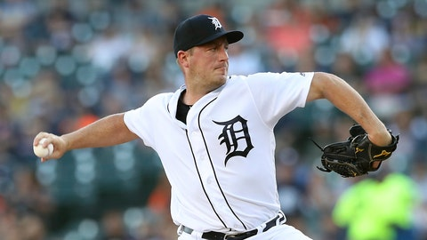 <p>               Detroit Tigers starting pitcher Jordan Zimmermann throws during the first inning of a baseball game against the Minnesota Twins, Friday, Aug. 10, 2018, in Detroit. (AP Photo/Carlos Osorio)             </p>