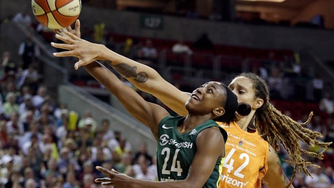 <p>               Phoenix Mercury's Brittney Griner (42) fouls Seattle Storm's Jewell Loyd (24) in the first half in a WNBA basketball playoff semifinal, Tuesday, Aug. 28, 2018, in Seattle. (AP Photo/Elaine Thompson)             </p>