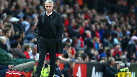 <p>               Manchester United manager Jose Mourinho stands on the touchline during the English Premier League soccer match between Manchester United and Tottenham Hotspur at Old Trafford stadium in Manchester, England, Monday, Aug. 27, 2018. (AP Photo/Dave Thompson)             </p>