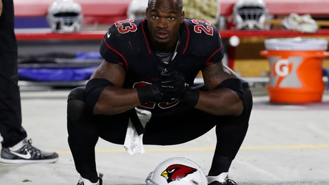 <p>               FILE - In this Nov. 9, 2017 file photo Arizona Cardinals running back Adrian Peterson (23) watches at the sideline during an NFL football game against the Seattle Seahawks in Glendale, Ariz. The Washington Redskins have signed Peterson. The team announced the deal Monday, Aug. 20, 2018 after meeting with him. (AP Photo/Rick Scuteri, file)             </p>