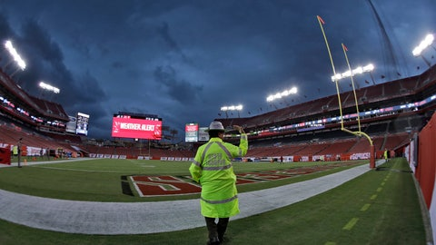<p>               A Florida Highway Patrol trooper signals for everyone to clear the field during a weather delay before NFL football game between the Tampa Bay Buccaneers and the Detroit Lions Friday, Aug. 24, 2018, in Tampa, Fla. (AP Photo/Chris O'Meara)             </p>