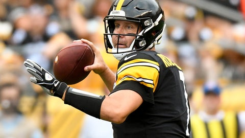 <p>               FILE - In this Aug. 25, 2018, file photo, Pittsburgh Steelers quarterback Ben Roethlisberger (7) passes in the first quarter of an NFL football game against the Tennessee Titans, in Pittsburgh. As long as Mike Tomlin is standing on the Pittsburgh sideline, watching Roethlisberger pass to Antonio Brown or stick the ball in the stomach of Le'Veon Bell, the Steelers will be favored to win the AFC North. (AP Photo/Don Wright, File)             </p>