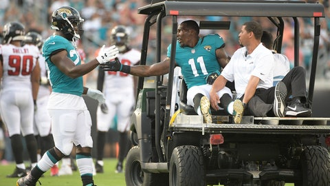 <p>               Jacksonville Jaguars running back Leonard Fournette, left, gives wide receiver Marqise Lee (11) a handshake after Lee was injured during the first half of an NFL preseason football game against the Atlanta Falcons, Saturday, Aug. 25, 2018, in Jacksonville, Fla. (AP Photo/Phelan M. Ebenhack)             </p>