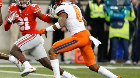 <p>               FILE - In this Nov. 18, 2017, file photo, Ohio State receiver Parris Campbell, left, fends off Illinois defensive back Nate Hobbs during the first half of an NCAA college football game in Columbus, Ohio. Campbell was the best receiver last season, with 594 yards and three scoring grabs. (AP Photo/Jay LaPrete, File)             </p>