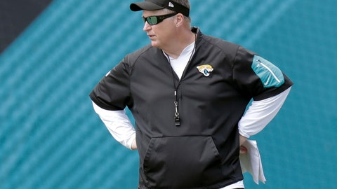 <p>               FILE - In this June 13, 2018, file photo, Jacksonville Jaguars head coach Doug Marrone watches players perform during an NFL football practice in Jacksonville, Fla. With a straight face and a shoulder shrug, Jaguars coach Doug Marrone provided a subtle response to being criticized in Doug Pederson's new book. In Pederson's book released Tuesday, Aug. 21, 2018, the Philadelphia Eagles coach ripped Marrone's decision to take a knee at the end of the first half of the AFC championship game. (AP Photo/John Raoux, File)             </p>
