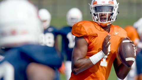 <p>               FILE - In this Aug. 14, 2018, file photo, Illinois quarterback AJ Bush (1) throws during NCAA college football training camp in Urbana, Ill.  After an intensive three-man competition, and less than a week before the season opener at home against Kent State, Illinois coach Lovie Smith has picked senior transfer AJ Bush as his starting quarterback. Bush beat out last year's starter and a promising three-star freshman recruit. (Stephen Haas/The News-Gazette via AP, File)             </p>