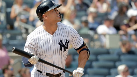 <p>               New York Yankees' Giancarlo Stanton watches his solo home run off Toronto Blue Jays starting pitcher Sean Reid-Foley during the fourth inning of a baseball game, Saturday, Aug. 18, 2018, in New York. (AP Photo/Julio Cortez)             </p>