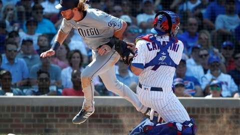 <p>               Chicago Cubs catcher Victor Caratini, right, tags out San Diego Padres' Travis Jankowski during the eighth inning of a baseball game in Chicago, on Friday, Aug. 3, 2018. (AP Photo/Jeff Haynes)             </p>