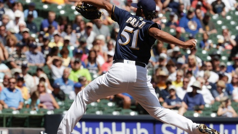 <p>               Milwaukee Brewers starting pitcher Freddy Peralta throws during the first inning of a baseball game against the Cincinnati Reds Wednesday, Aug. 22, 2018, in Milwaukee. (AP Photo/Morry Gash)             </p>