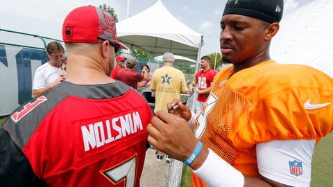 <p>               Tampa Bay Buccaneers quarterback Jameis Winston looks at a fan's jersey with his name printed upside down before he autographs it after a combined NFL football training camp practice with the Tennessee Titans Wednesday, Aug. 15, 2018, in Nashville, Tenn. (AP Photo/Mark Humphrey)             </p>