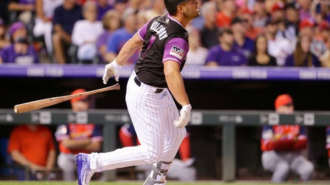 <p>               Colorado Rockies' Matt Holliday watches his solo home run against the St. Louis Cardinals during the seventh inning of a baseball game Saturday, Aug. 25, 2018, in Denver. (AP Photo/Joe Mahoney)             </p>
