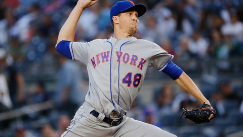 <p>               New York Mets' Jacob deGrom delivers a pitch during the first inning of a baseball game against the New York Yankees Monday, Aug. 13, 2018, in New York. (AP Photo/Frank Franklin II)             </p>