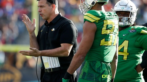 <p>               FILE - In this Dec. 16, 2017, file photo, Oregon head coach Mario Cristobal, left, instructs his players during the first half of the Las Vegas Bowl NCAA college football game against Boise State in Las Vegas. Cristobal set a serious tone for No. 24 Oregon in discussing their game against Bowling Green this week. (AP Photo/John Locher), file             </p>