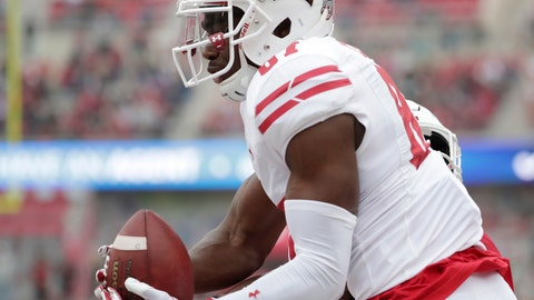 """<p>               In this Nov. 4, 2017, photo, Wisconsin wide receiver Quintez Cephus (87) catches a pass for a touchdown during the second quarter of an NCAA college football game against Indiana in Bloomington, Ind. Cephus says he's taking a leave of absence from the team because he believes prosecutors intend to file criminal charges against him for an incident in April involving what he calls a """"consensual relationship."""" In a tweet late Saturday, Aug. 18, 2018, Cephus didn't specify what he is accused of but denied any wrongdoing and said he has been wrongfully accused.  (M.P. King/Wisconsin State Journal via AP)             </p>"""