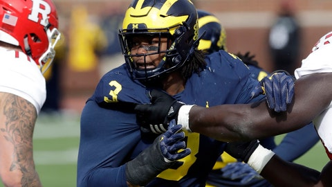 <p>               FILE - In this Oct. 28, 2017, file photo, Michigan defensive lineman Rashan Gary rushes against Rutgers during the first half of an NCAA college football game in Ann Arbor, Mich. The Wolverines could probably use a few more sacks out of the 6-5, 281-pound junior, and if he does improve his pass rush he could push to be No. 1 overall when the NFL's drafts next April. (AP Photo/Carlos Osorio, File)             </p>