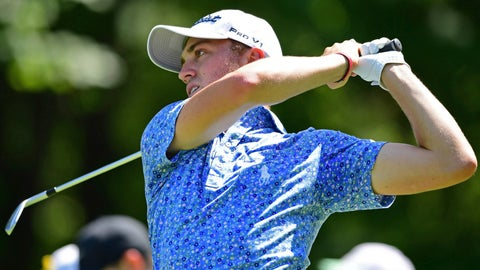 <p>               Justin Thomas watches his tee shot on the fifth hole during the third round of the Bridgestone Invitational golf tournament at Firestone Country Club, Saturday, Aug. 4, 2018, in Akron, Ohio. (AP Photo/David Dermer)             </p>