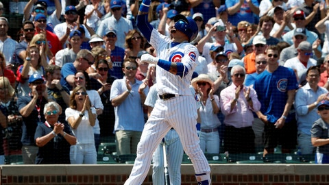 <p>               Chicago Cubs' Javier Baez looks skyward after hitting a solo home run against the San Diego Padres during the second inning of a baseball game in Chicago, on Friday, Aug. 3, 2018. (AP Photo/Jeff Haynes)             </p>