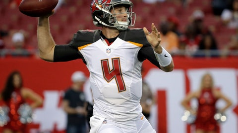 <p>               Tampa Bay Buccaneers quarterback Ryan Griffin (4) throws a pass against the Jacksonville Jaguars during the first half of an NFL preseason football game Thursday, Aug. 30, 2018, in Tampa, Fla. (AP Photo/Chris O'Meara)             </p>