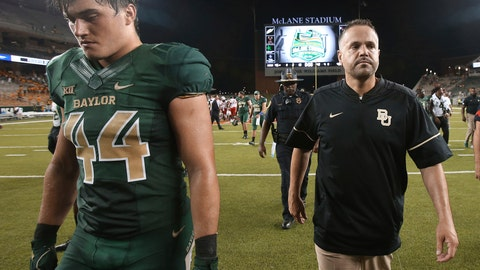 <p>               FILE - In this Sept. 2, 2017, file photo, Baylor head coach Matt Rhule, right, walks off the field with linebacker Clay Johnston, left, following in the second half of an NCAA college football game, in Waco, Texas. Rhule had no reason this week to remind Baylor players about how last season started. (Jerry Larson/Waco Tribune Herald via AP, File)             </p>
