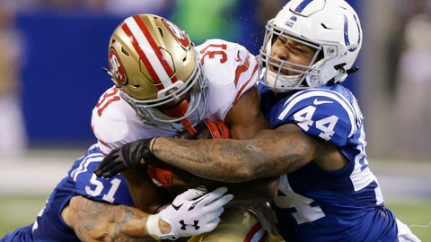 <p>               FILE - In this Sunday, Oct. 8, 2017 file photo, San Francisco 49ers' Raheem Mostert (31) is tackled by Indianapolis Colts' John Simon (51) and Antonio Morrison (44) during the second half of an NFL football game in Indianapolis. The Colts traded inside linebacker Antonio Morrison to the Packers for cornerback Lenzy Pipkins, giving each veteran one chance to impress their new coaches and a better chance of making the 53-man active roster on their new teams.(AP Photo/Michael Conroy, File)             </p>