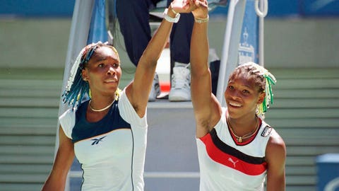 <p>               FILE - In this Jan. 21, 1998, file photo, Venus Williams, left, and sister Serena raise their arms after their center court match at the Australian Open Tennis Championships in Melbourne, Australia. Venus won the match 7-6, 6-1. Back when Serena Williams, then 16, and Venus Williams, then 17, played each other on tour for the very first time in January 1998, no one possibly could have known it would signal the start of a series that would last for two decades. (AP Photo/Rick Stevens, File)             </p>