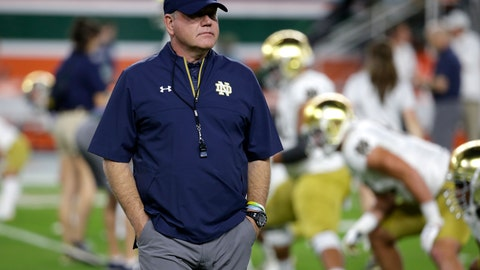 <p>               FILE - In this Nov. 11, 2017, file photo, Notre Dame head coach Brian Kelly walks on the field before an NCAA college football game against Miami in Miami Gardens, Fla. Notre Dame hosts Michigan on Saturday, Sept. 1, to open the college football season. (AP Photo/Lynne Sladky, File)             </p>