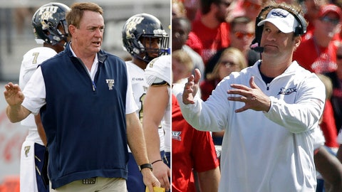 <p>               FILE - At left, in an Aug. 31, 2017, file photo, Florida International head coach Butch Davis directs his players as they warm up before an NCAA college football game against Central Florida, in Orlando, Fla. At right, in a Sept. 9, 2017, file photo, Florida Atlantic head coach Lane Kiffin gestures from the sidelines during an NCAA college football game against Wisconsin, in Madison, Wis. Kiffin knew very little about C-USA before he became Florida Atlantic's coach. Same for Davis at Florida International. Both former Power Five coaches made immediate impacts at their new schools in their new league. (AP Photo/File)             </p>
