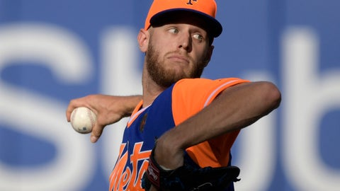<p>               New York Mets pitcher Zack Wheeler delivers the ball to the Washington Nationals during the fourth inning of a baseball game Saturday, Aug. 25, 2018 in New York. (AP Photo/Bill Kostroun)             </p>