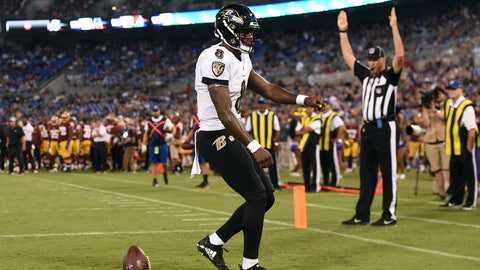 <p>               Baltimore Ravens quarterback Lamar Jackson (8) celebrates after rushing for a touchdown in the first half of a preseason NFL football game against the Washington Redskins, Thursday, Aug. 30, 2018, in Baltimore. (AP Photo/Gail Burton)             </p>