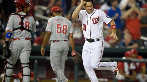 <p>               Washington Nationals' Ryan Zimmerman (11) runs toward home on his walk-off two-run home run during the ninth inning of a baseball game as Philadelphia Phillies relief pitcher Seranthony Dominguez (58) and catcher Jorge Alfaro (38) walk toward the dugout Wednesday, Aug. 22, 2018, in Washington. The Nationals won 8-7. (AP Photo/Nick Wass)             </p>