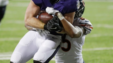 <p>               Baltimore Ravens tight end Hayden Hurst (81) scores a touchdown as Chicago Bears linebacker Josh Woods (55) holds on during the second half at the Pro Football Hall of Fame NFL preseason game, Thursday, Aug. 2, 2018, in Canton, Ohio. (AP Photo/David Richard)             </p>
