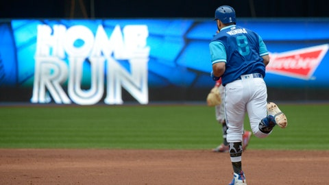<p>               Toronto Blue Jays' Kendrys Morales rounds the bases after hitting a team record-breaking two-run home run against the Philadelphia Phillies during the third inning of a baseball game, Sunday, Aug. 26, 2018, in Toronto. Morales broke the team record for home runs in consecutive games with his seventh straight. (Jon Blacker/The Canadian Press via AP)             </p>