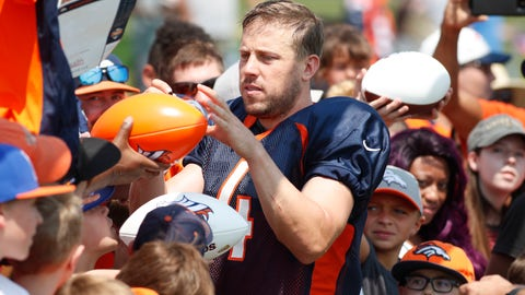 <p>               Denver Broncos quarterback Case Keenum signs autographs at NFL football training camp Tuesday, Aug. 7, 2018, in Englewood, Colo. (AP Photo/David Zalubowski)             </p>
