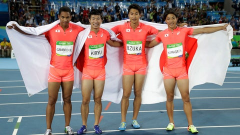 <p>               FILE - In this Aug. 19, 2016, file photo, Japan's Ryota Yamagata, Shota Iizuka, Yoshihide Kiryu and Aska Cambridge celebrate winning the silver medal in the men's 4 x 100-meter relay during the athletics competitions of the 2016 Summer Olympics at the Olympic stadium in Rio de Janeiro, Brazil. With the Tokyo Olympics less than two years away, Japanese athletes will be using the Asian Games to build confidence as they prepare to host the world on sport's biggest stage. (AP Photo/Matt Slocum, File)             </p>